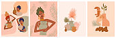 Set of abstract posters with African woman, ceramic vase and jugs, plants, abstract shapes and landscape.
