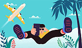 Time to travel poster. Young man in glasses jumping doing selfie. Vacation concept.