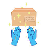 Contactless delivery in rubber gloves concept. Hands pass the box in sterilized blue gloves without touching it. Everything shines with purity. Vector stock illustration. Shoppig online.