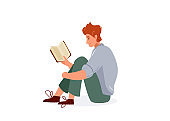 Read book vector illustration. Boy reading books in comfortable pose hugging his knees. Student male study knowledge. Cute readers, style flat literature with person
