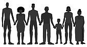 African Americans of different gender and age hold hands together. Hand drawn vector illustration. Silhouette of black skin people isolated on white background. Black Lives Matter, black history month