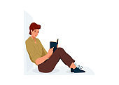 Read book vector illustration. Boy reading books in comfortable pose leaning on the wall. Student male study knowledge. Cute readers, style flat literature with person