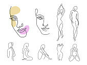 Line art woman silhouette vector set. Female faces and different figure poses in modern simple linear style. Girl body posture design. Beauty and fashion collection concept