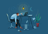 Burnout concept vector background. Tired man sitting on an office chair and trying work at the computer. Nighttime. Business flat cartoon illustration