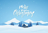 Blue Winter christmas landscape with cartoon house and handwritten lettering of Merry Christmas