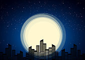 Night city on background of moon and stars.