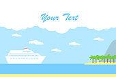 Vector illustration: cruise liner near tropical beach