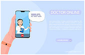 Online doctor consultation via your smartphone. Human hand is holding phone with video call to doctor. Woman therapist gives an advice online. Concept for medical app and web. Flat vector illustration
