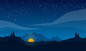 Vector Night mountains landscape with tent camp, geometric clouds and star sky.