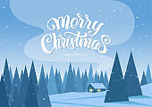 Winter christmas landscape with cartoon house and handwritten lettering of Merry Christmas