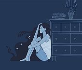 Scared woman near silhouettes of angry monsters in room
