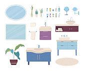 Vector set of cartoon bathroom interior items