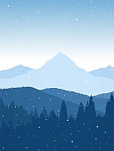 Winter snowy flat Mountains landscape with pine forest, hills and snowflakes.