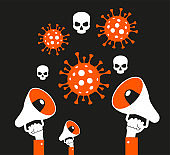 Coronavirus concept. Virus and skull. News distribution. Panic