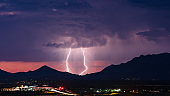Lightning bolts strike from a monsoon storm