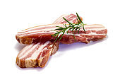 Raw pork belly isolated on white background