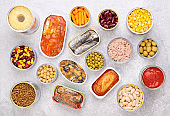 Canned food on gray background background