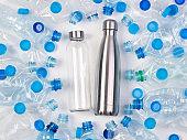 Reusable glass and metal bottles among plastic bottles
