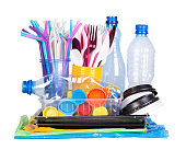 Disposable single use plastic objects cause pollution of the environment, isolated in white
