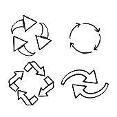hand drawn doodle recycle arrow collection icon symbol vector