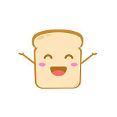 Funny cute bread character. Vector flat bread character feel happy. isolated on white background. Bread character concept