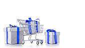 Sales icon. Trolley cart for supermarket with christmas or birthday gift box isolated on white background. Creative idea for shopping online, xmas sale in supermarket.