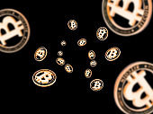 Gold Falling Bitcoins on black. Cryptocurrency golden concept. Falling background.