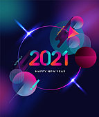Happy New Year 2021 colorful abstract design, vector elements for calendar and greeting card.