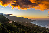 Storm clouds over coastline, Canary Islands, Spain