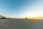 Beach under clear sky at sunset, Miami, Florida, USA