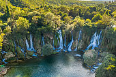 Aerial view of Kravica waterfall, (Kravitse) Bosnia and Herzegovina