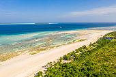 Aerial view of a tropical white sandy beach, Mnemba Island, Zanzibar, Tanzania