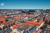 Top view on Copenhagen. City landscape.