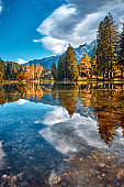Autumn landscape. Chamonix Valley, Alps.