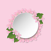 Round frame with sakura blossom and space for text, paper cut style template, Vector illustration