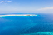 Aerial view of a tropical island, Mnemba Island, Zanzibar, Tanzania