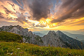 Landscape with Mangart mountain in Julian Alps at sunset, Slovenia