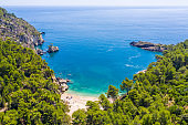 Aerial view of cliffs, beach and forest on shore of Adriatic Sea, Gargano National Park, Puglia, Italy
