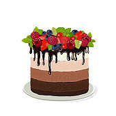 Cake with fresh berries. Vector