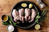 Raw uncooked quails