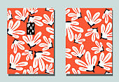 Postcards with abstract flowers and tropical leaves. Two modern vector flyers