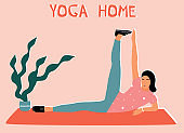 Woman doing yoga at home. Illustration with pose nantasana, Side-Reclining Leg Lift.