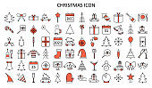 Christmas line icon set