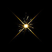 Gold warm color bright lens flare flashes leak for transitions on black background