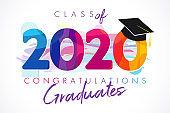 Class of 2020 year graduation illustration