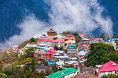 Kalpa town aerial panoramic view, India