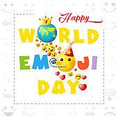 Happy world emoji day earth