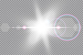 Vector transparent sunlight special lens flare light effect. Sun isolated on transparent background. Glow light effect