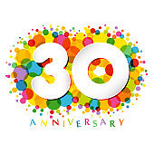 30 years anniversary paper colorful logo