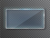 Transparent vector glass plate, Blank. Vector template, mock-up banner with copy-space. Realistic texture with highlights and glow on the transparent.